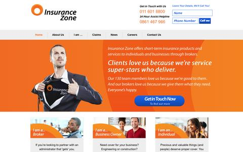 Screenshot of Products Page insurancezone.co.za - Home - Short Term | Insurance Zone - captured Sept. 30, 2014