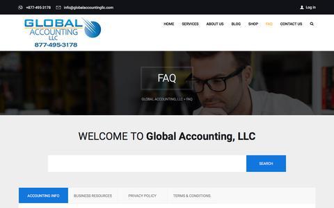 Screenshot of FAQ Page globalaccountingllc.com - FAQ - Global Accounting, LLC - captured July 19, 2018
