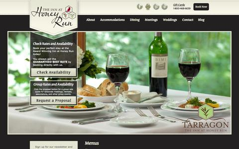 Screenshot of Menu Page innathoneyrun.com - Tarragon Breakfast, Lunch, Dinner Menus at The Inn at Honey Run - captured Oct. 7, 2014