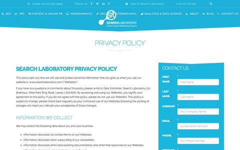 Screenshot of Privacy Page searchlaboratory.com - Privacy Policy | Search Laboratory - captured Aug. 15, 2016