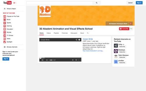 Screenshot of YouTube Page youtube.com - 3D Akademi Animation and Visual Effects School  - YouTube - captured Oct. 29, 2014