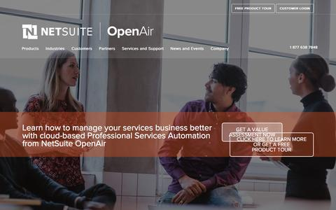 Screenshot of Home Page openair.com - NetSuite OpenAir | Leading Cloud Based PSA Professional Services Automation Software for SRP (Service Resource Planning) - captured July 4, 2016