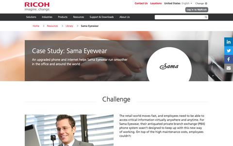 Screenshot of Case Studies Page ricoh-usa.com - Sama Eyewear - captured Jan. 3, 2019
