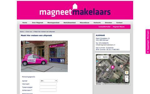 Screenshot of Contact Page magneetmakelaars.nl - Maak hier meteen een afspraak - Magneet Makelaars BV - captured July 22, 2016