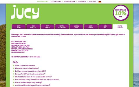 Screenshot of FAQ Page jucy.co.nz - HELP & CONTACT - captured Jan. 23, 2017