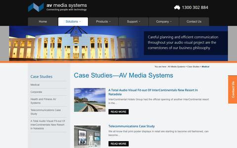 Screenshot of Case Studies Page avsystems.com.au - AV Media Systems Case Studies - captured Oct. 2, 2018