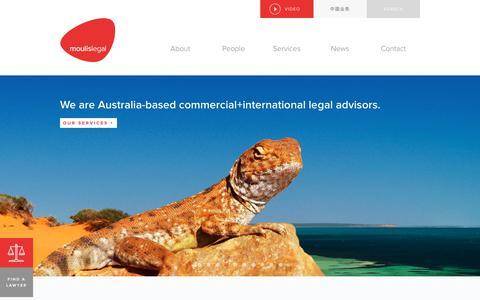 Screenshot of Home Page moulislegal.com - Moulis Legal - Commercial & International Legal Advisors Australia - captured July 13, 2018
