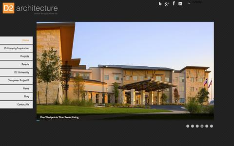 Screenshot of Home Page d2architecture.com - Senior Living Architecture - captured Jan. 7, 2016
