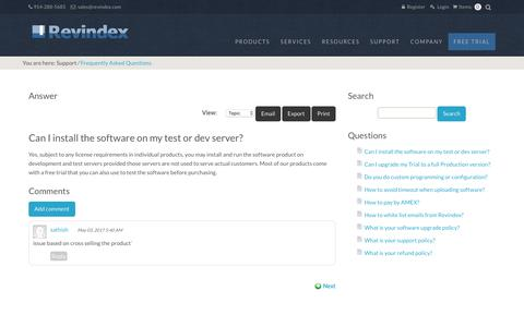 Screenshot of FAQ Page revindex.com - Revindex > Support > Can I install the software on my test or dev server? - captured Oct. 20, 2018