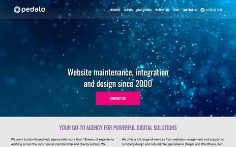 Screenshot of Home Page pedalo.co.uk - Web Design & Development Agency in London | WordPress & Drupal Expertise | Pedalo - captured Sept. 27, 2018