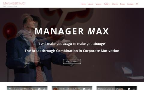 Screenshot of Home Page manager-max.com - Manager Max - Laugh to make Change - captured July 27, 2018