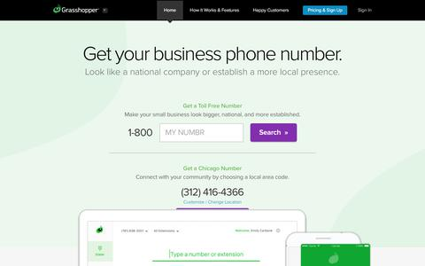 Screenshot of Home Page grasshopper.com - Grasshopper Virtual Phone System | Manage Your Calls Online - captured May 15, 2018