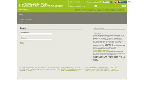 Screenshot of Login Page unicas.it - Login / Utente - Università degli studi di Cassino e del Lazio Meridionale - captured Oct. 7, 2014