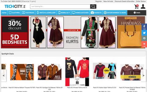 Screenshot of Home Page techcity.pk - Online Shopping in Pakistan - Fashion, Electronics, Appliances - TechCity.pk - captured June 20, 2017