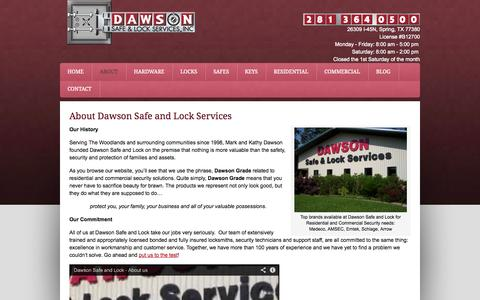 Screenshot of About Page dawsonsafeandlock.com - History of Dawson Safe and Lock The Woodlands I45N Texas - captured Sept. 30, 2014