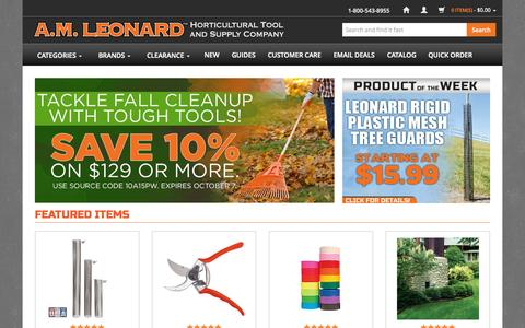 Screenshot of Home Page amleo.com - A.M. Leonard Tools for the Horticultural Industry since 1885. - captured Oct. 2, 2015