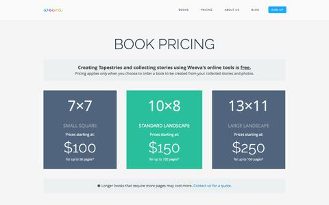 Screenshot of Pricing Page weeva.co - Weeva Books - Perfect Gifts For Any Occasion - captured Nov. 5, 2014