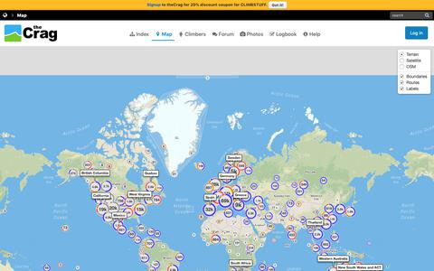 Screenshot of Maps & Directions Page thecrag.com - Map: World | theCrag - captured Dec. 11, 2018