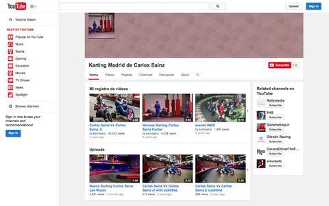 Screenshot of YouTube Page youtube.com - Karting Madrid de Carlos Sainz  - YouTube - captured Nov. 1, 2014