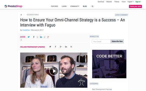 Screenshot of prestashop.com - How to Ensure Your Omni-Channel Strategy is a Success – An Interview with Faguo - captured Feb. 2, 2017