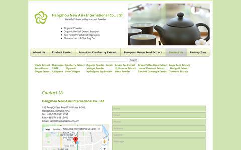 Screenshot of Contact Page herbalsextract.com - Contact us| Rhamnose | Hangzhou New Asia International Co., Ltd - captured Sept. 27, 2018