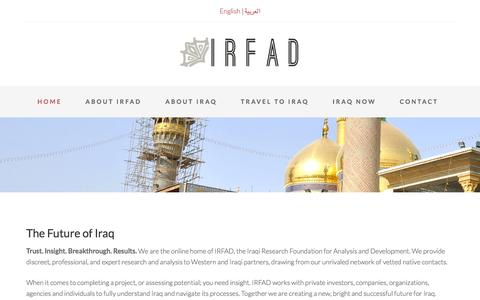 Screenshot of Home Page irfad.org - Iraqi Research Foundation for Analysis and Development - captured Sept. 16, 2015
