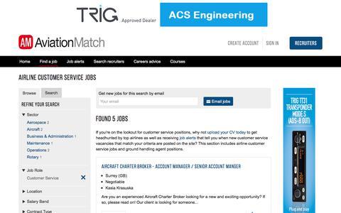Screenshot of Support Page aviationmatch.com - Airline Customer Service Jobs - Customer Service Employment - captured Oct. 9, 2017