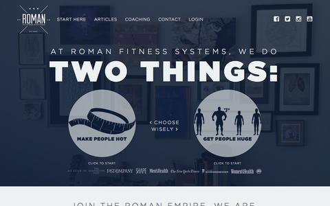 Screenshot of Home Page romanfitnesssystems.com - Roman Fitness Systems - Where Mediocrity Goes to Die - captured Jan. 23, 2015