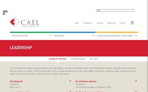Screenshot of Team Page cael.org - Main - Leadership - captured Jan. 8, 2018