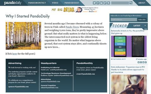 Screenshot of About Page pando.com - Why I Started PandoDaily | PandoDaily - captured July 18, 2014