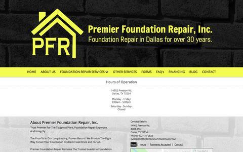 Screenshot of Hours Page premierfoundationrepair.com captured July 1, 2018