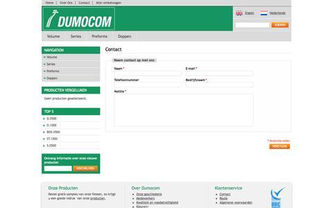 Screenshot of Contact Page dumocom.nl - Magento Commerce - captured Oct. 5, 2014