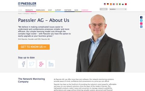 Screenshot of About Page paessler.com - Paessler AG - About Us - captured Aug. 21, 2016