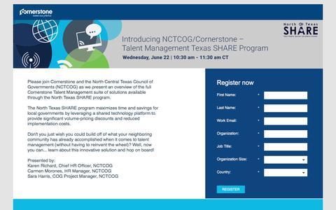 Screenshot of Landing Page cornerstoneondemand.com - NCTCOG/Cornerstone – Learning Management Texas SHARE Program - captured Oct. 29, 2016