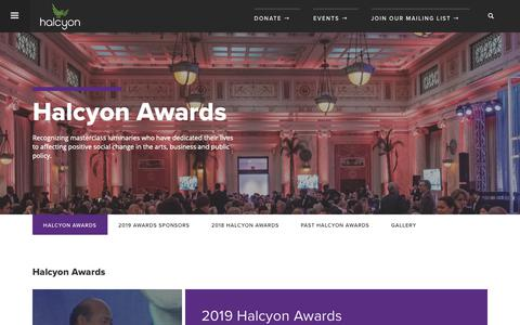 Screenshot of About Page halcyonhouse.org - Halcyon Awards | Halcyon - captured Oct. 30, 2018