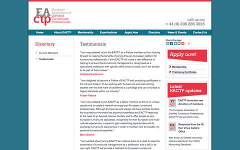 Screenshot of Testimonials Page eactp.eu - Testimonials | European Association of Turnaround Professionals - captured Oct. 28, 2014