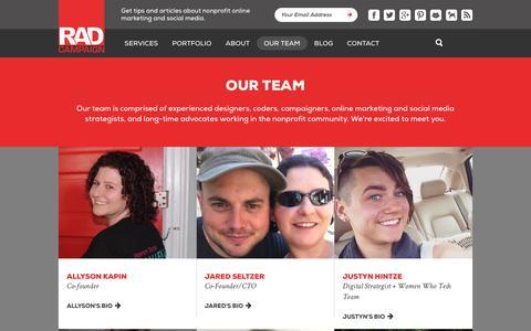 Screenshot of Team Page radcampaign.com - Our Team   Rad Campaign - captured Sept. 21, 2018