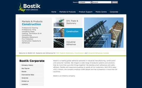 Screenshot of Home Page bostik.co.uk - Bostik is one of the worlds' leading providers of adhesive and sealant solutions. - captured Feb. 29, 2016