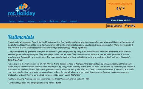 Screenshot of Testimonials Page mt-holiday.com - Testimonials - Mt. Holiday - captured Nov. 30, 2016
