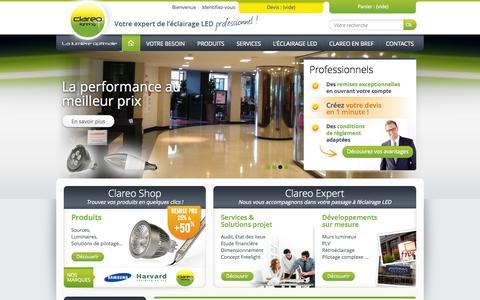 Screenshot of Home Page clareolighting.com - Votre expert de l'éclairage LED - CLAREO Lighting - captured Sept. 26, 2014
