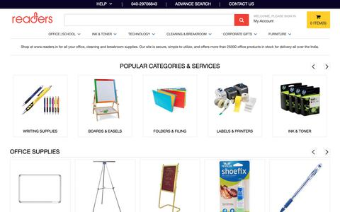 Screenshot of Home Page readers.in - Buy School Stationery, Office Supplies, Kits for Business | Cleaning  - breakroom Supplies Online India - Readers.in - captured Oct. 18, 2018