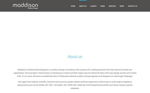 Screenshot of About Page maddison.co.uk - About us - Maddison Limited Product Designers - captured Feb. 4, 2016