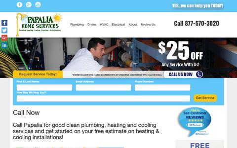Screenshot of Contact Page papaliaplumbing.com - Call Now - Papalia Plumbing & Heating - captured Sept. 26, 2018