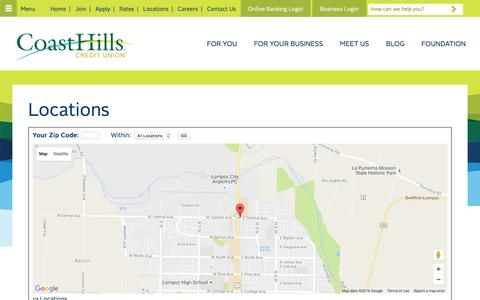 Screenshot of Locations Page coasthills.coop - Credit Union Locations in California   CoastHills Credit Union - captured Nov. 8, 2016
