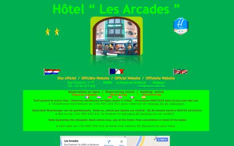 """Screenshot of Home Page lesarcades.be - Hôtel """" Les Arcades """" ŕ La Roche-en-Ardenne - Belgique. Logement en chambre avec petit déjeuner. - captured Oct. 16, 2015"""