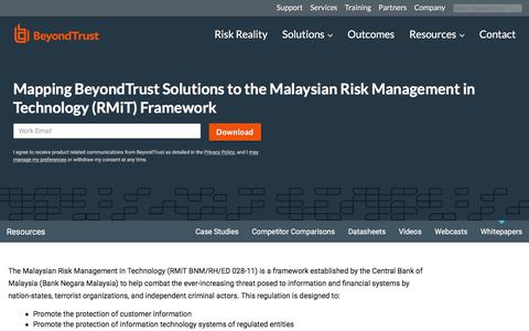 Screenshot of Team Page beyondtrust.com - Mapping BeyondTrust Solutions to the Malaysian Risk Management in Technology (RMiT) Framework | BeyondTrust - captured Jan. 3, 2020