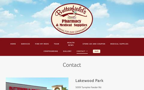 Screenshot of Contact Page butterfieldrx.com - Contact us - Butterfield's Pharmacy and Medical Supply - captured Nov. 23, 2016