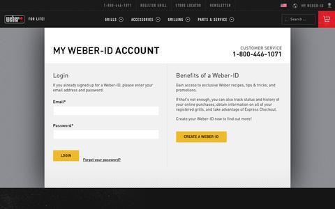 Screenshot of Login Page weber.com - Weber.com - My Account - captured June 21, 2017