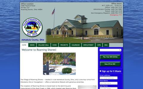 Screenshot of Home Page roamingshoresoh.gov - Village of Roaming Shores - captured Oct. 21, 2017