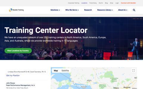 Screenshot of Locations Page sandler.com - Sandler Training Center Locator | Find a Local Training Center - captured Oct. 5, 2019